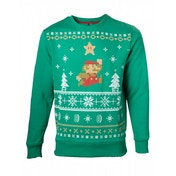 Nintendo Super Mario Bros. Men's Running Mario Green Christmas Jumper XX Large