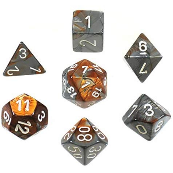 Gemini Poly 7 Dice Set - Copper-Steel/White
