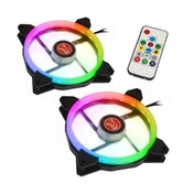 Raijintek IRIS 14 Rainbow RGB LED PWM 140mm Fan with Controller - Twin Pack