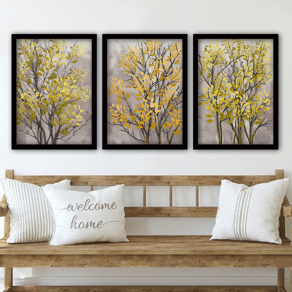 3SC70 Multicolor Decorative Framed Painting (3 Pieces)