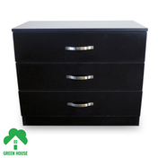 Wooden Chest of Drawers, Bedside Cabinet Bedroom Furniture Green House 3 Drawer Chest Black