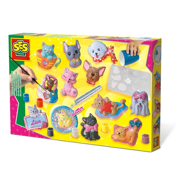 SES Creative - Children's Cats and Dogs Casting and Painting Set 5-12 Years (Multi-colour)