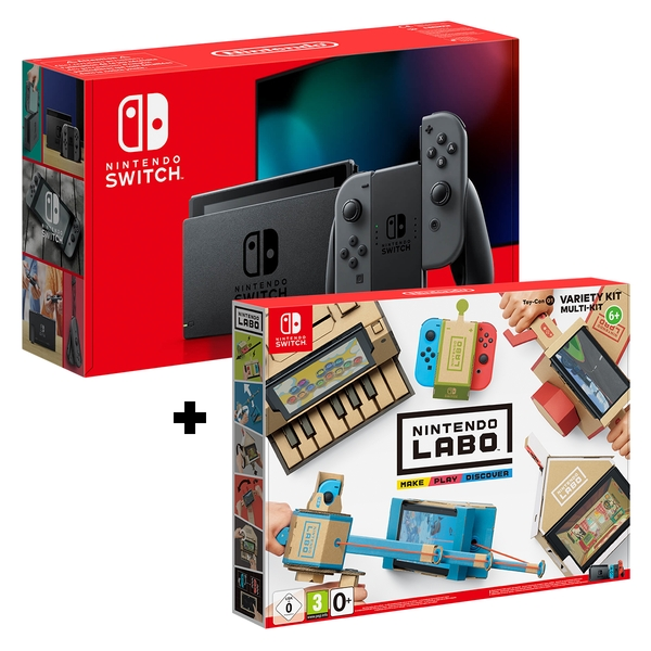 Nintendo Switch Console Grey Joy-Con Controllers + Labo Toy-Con: Variety Kit