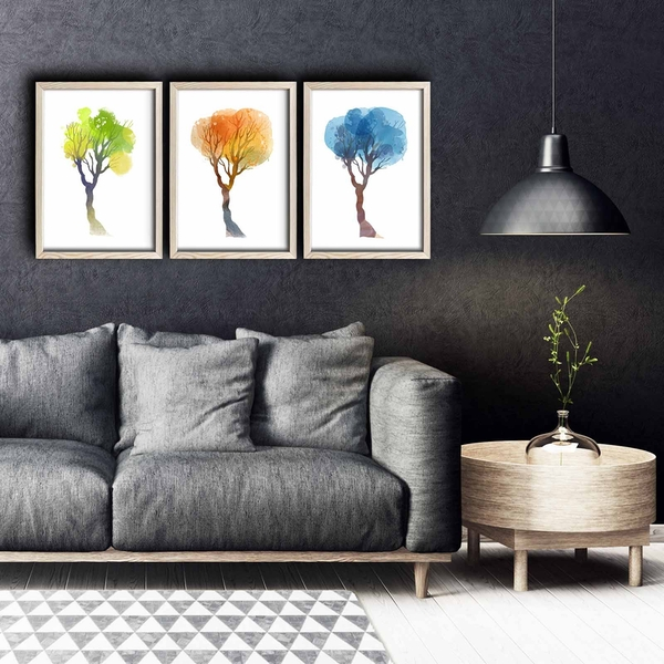 3PKCT-005 Multicolor Decorative Framed MDF Painting (3 Pieces)