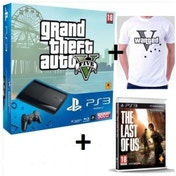 500GB Super Slim Console with Grand Theft Auto V + Last Of Us Game + Wanted T-Shirt PS3