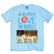 The Beatles AYNIL Playcards Mens Light Blue Tshirt: Large
