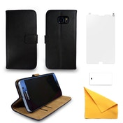Samsung Galaxy S7 Black Leather Phone Case + Free Screen Protector Flip Wallet Gadgitech