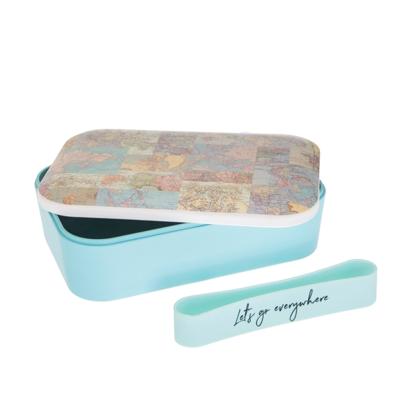 Sass & Belle Vintage Map Collage Bamboo Lunch Box