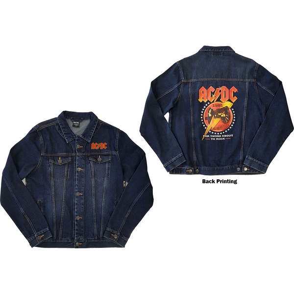 AC/DC - About To Rock Unisex Small Denim Jacket - Blue