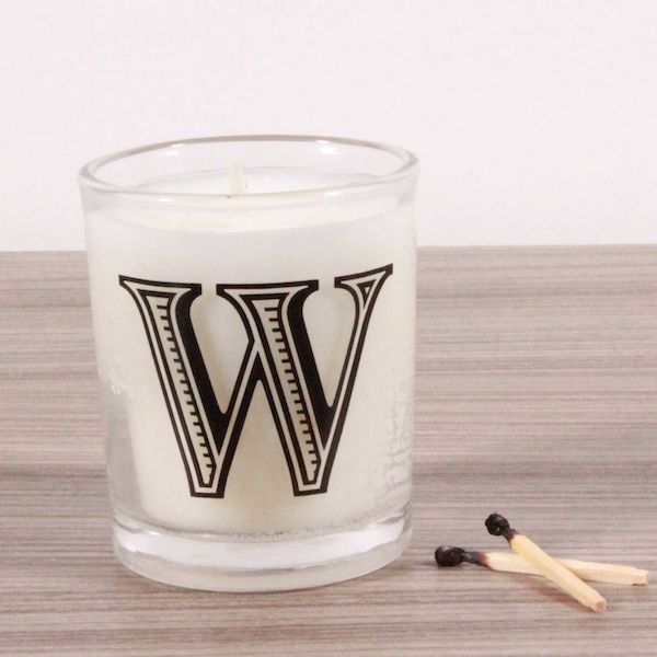 W Alphabet Candle in Votive Glass