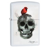 Zippo Spazuk Bird & Skull White Matte Finish Windproof Lighter