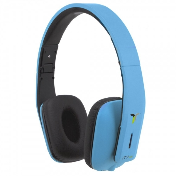iT7x2 Foldable Wireless Bluetooth Headphones with Near Field Communication NFC Blue