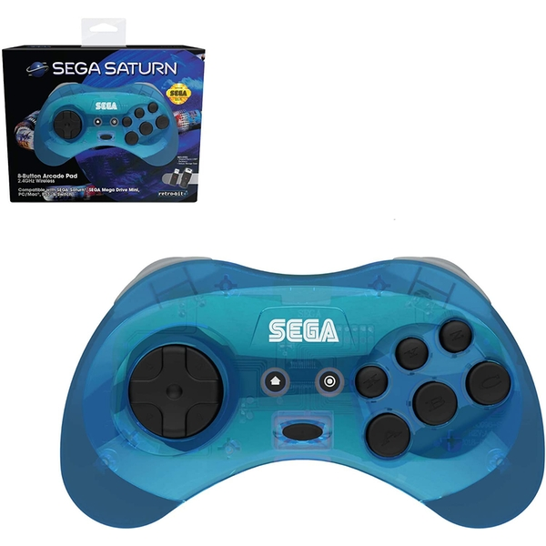 Retro-Bit Official SEGA Saturn Blue Wireless Controller 8-Button Arcade Pad for Sega Mega Drive