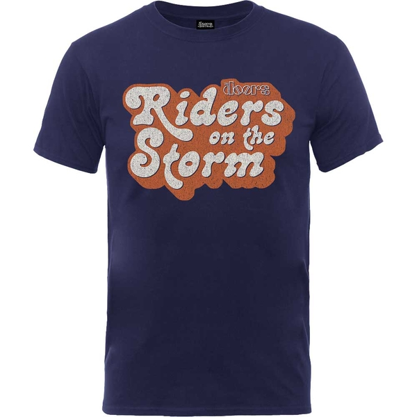 The Doors - Riders on the Storm Logo Unisex X-Large T-Shirt - Blue