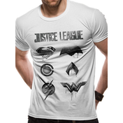 Justice League Movie - Logo And Symbols Men's Large T-Shirt - White