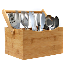 Bamboo Utensil Cutlery Holder Box | M&W