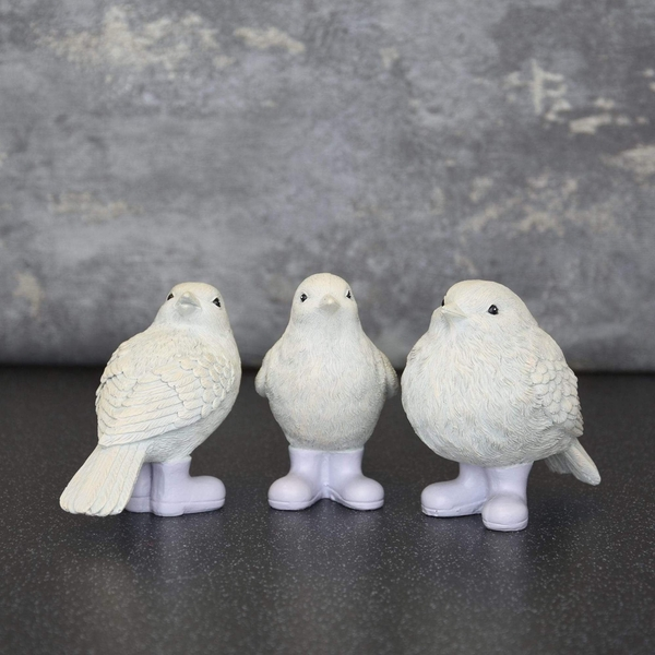 Set of 3 Birds in Wellies in Gift Box White and Lilac 10cm