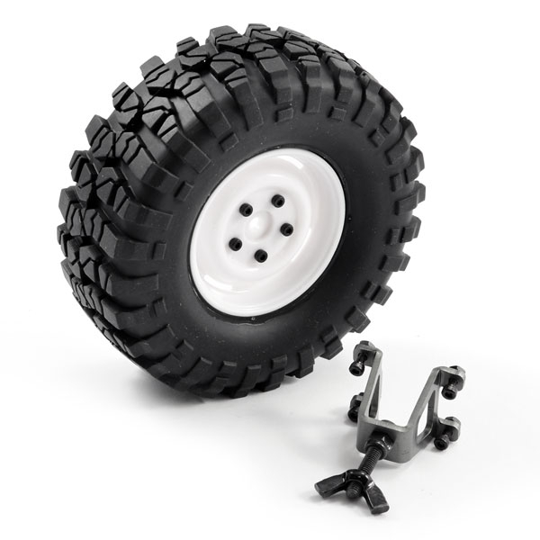 Ftx Outback Spare Tyre Mount & Tyre/Steel Look Lug Wheel White