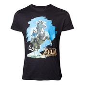 Legend of Zelda Breath of the Wild - Link on his Horse Men's Large T-Shirt - Black
