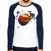 Superman - Torn Logo Men's Medium Baseball Shirt - White
