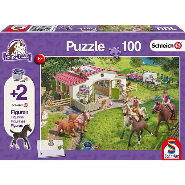 Schleich: Horse Ride into the Countryside 100 Piece Jigsaw Puzzle + Two Figures