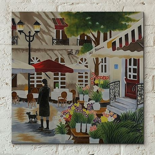 Tile 12x12 Floral Promenade B Heighton Wall Art
