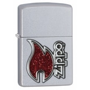 Zippo Red Flame Satin Chrome Lighter