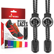 Proworks No Tie Reflective Shoe Laces - Black