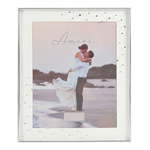 """8""""x 10""""- AMORE BY JULIANA? Silver Plated Frame with Crystals"""
