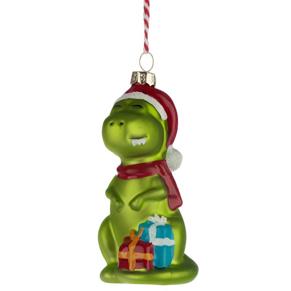 Dinosaur Glass Christmas Bauble Decoration