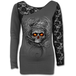 Roots of Hell Women's XX-Large Long Sleeved Lace One Shoulder Top - Grey - Image 2