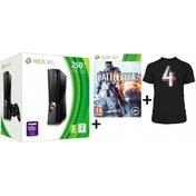 250GB Slim Console in Black + Battlefield 4 + T-Shirt Game Xbox 360