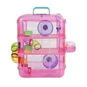 Hamster & Gerbil 3 Storey Cage With Tubes Between Tiers Pink New