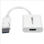 StarTech Male DisplayPort to Female HDMI Active Adapter with DP to HDMI Video and Audio Converter - White