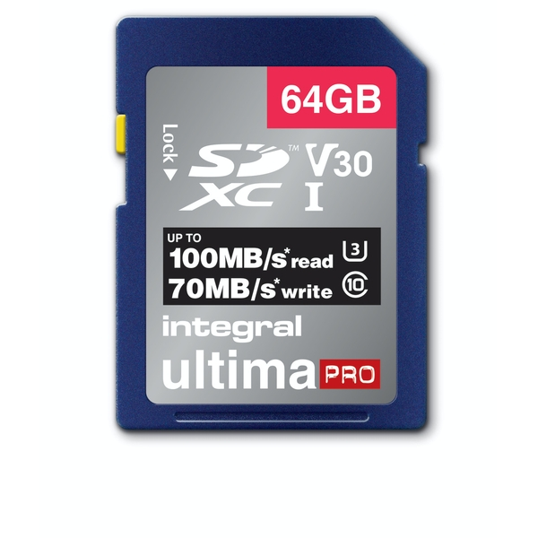 Integral 64GB SD Card SDXC UHS-1 U3 Cl10 V30 Up To 100Mbs Read 50Mbs Write