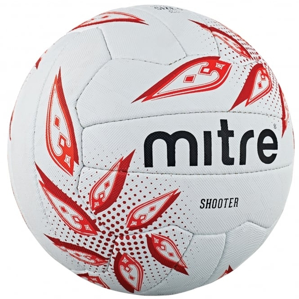Mitre Shooter Netball White/Ruby/Red - Size 4