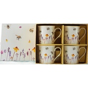 Lesser & Pavey Pretty Water Colour Busy Bees Design Mugs (Set of 4)