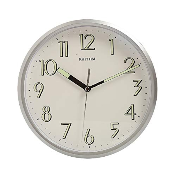 Rhythm Luminious Silver Wall Clock - Silent Silky Movement