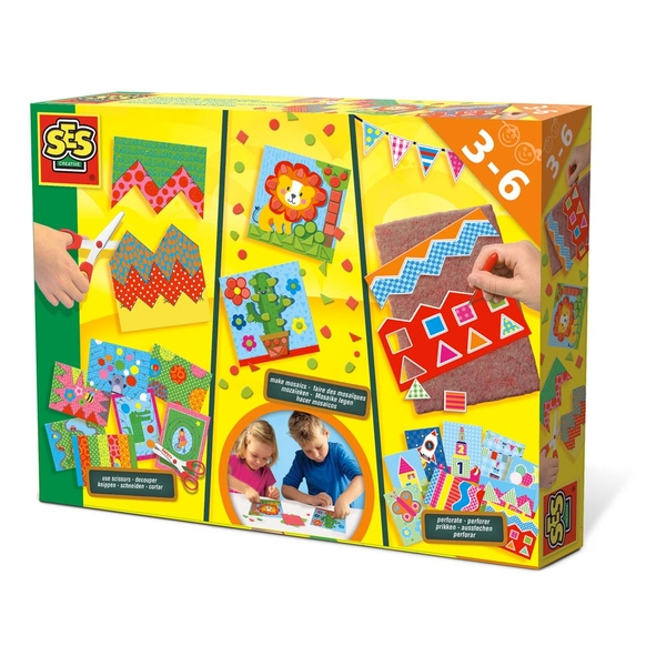 SES Creative - Children's I Learn to Cut Make Mosaics and Perforate Set 3-6 Years (Multi-colour)