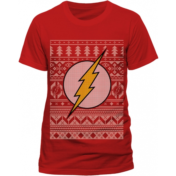 The Flash - Fair Isle Logo Unisex Small T-shirt - Red