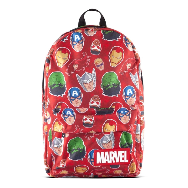 Marvel Comics Characters All-Over Print Backpack- Red/Black