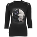 Yin Yang Cats Women's X-Large Lace Shoulder 3/4 Sleeve Top - Black - Image 2