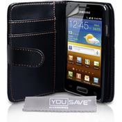 YouSave Accessories Samsung Galaxy S Advance Leather-Effect Wallet Case - Black