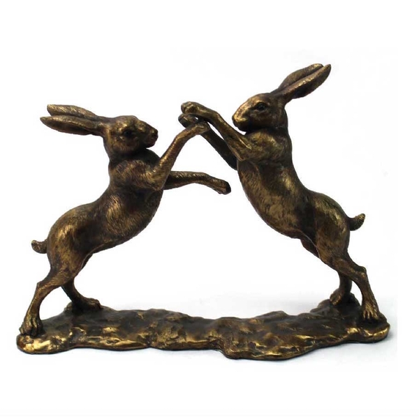 Bronzed Boxing Hares Ornament By Lesser & Pavey