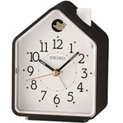 Seiko QHP002K Bedside Beep Alarm or 2 Birds Song Clock Black and White