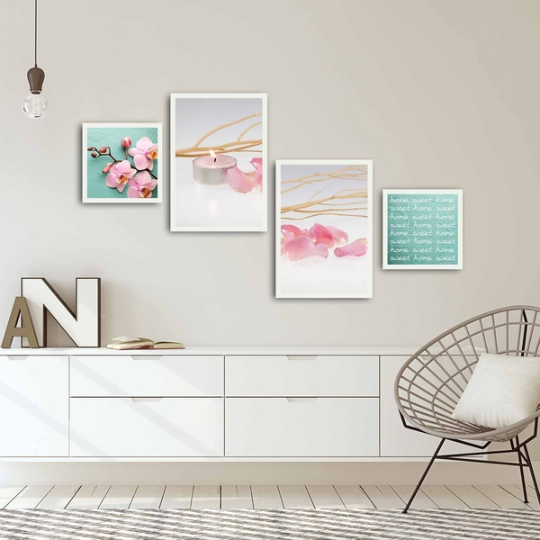 4PBCT-02 Multicolor Decorative Framed MDF Painting (4 Pieces)