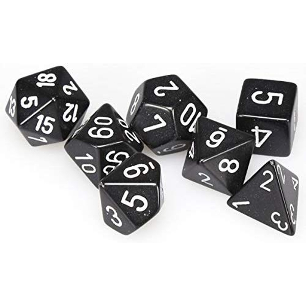 Chessex Opaque Poly 7 Set: Black/White