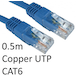 RJ45 (M) to RJ45 (M) CAT6 0.5m Blue OEM Moulded Boot Copper UTP Network Cable - Image 2