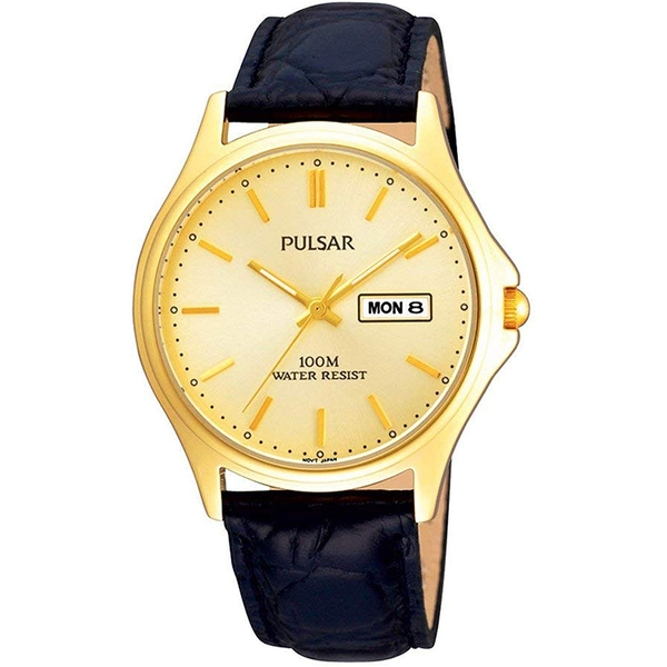 Pulsar PXF296X1 Mens Gold Plated Champagne Dial Classic Leather Strap Watch