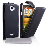 YouSave Accessories HTC One X Leather-Effect Flip Case - Black with White Stitching